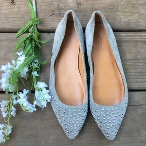 J. Crew gray studded point toe flats. Size 6.5.